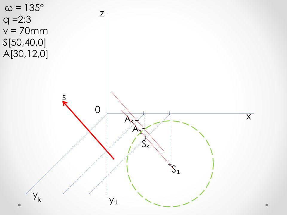 q =2:3 z v = 70mm S[50,40,0] A[30,12,0] s x A A₁ S S₁ y y₁ ω = 135° +